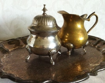 Vintage Shabby-Chic Leonard Silver Plated Engraved Tray with a Sugar Bowl and Creamer -3 Piece-