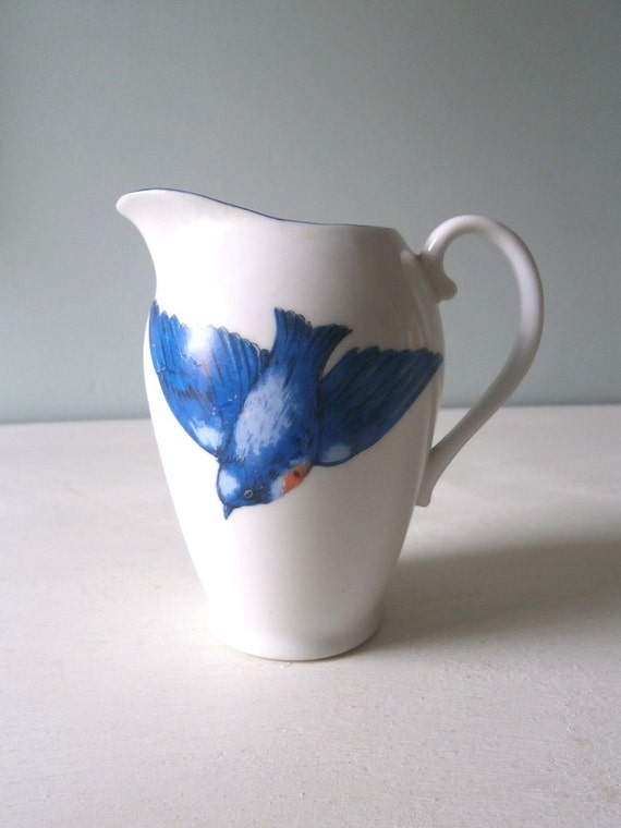 Vintage Bluebird Swallow Jug or Creamer or Vase