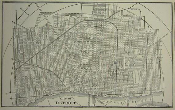 Detroit Institute of Arts DIA and City of Detroit Map  - 1897 Antique Michigan