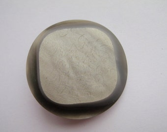 1 Silver Square Button 34mm Plastic