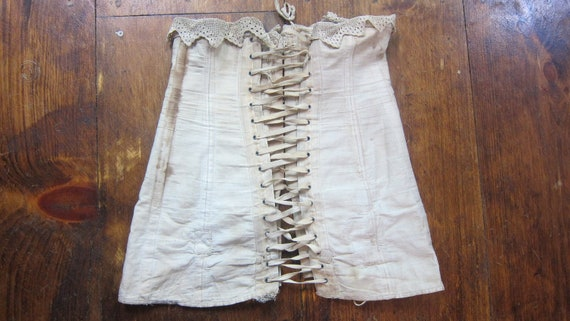 1880 Antique Corset with lace trim // Lace up back with hook & eye front