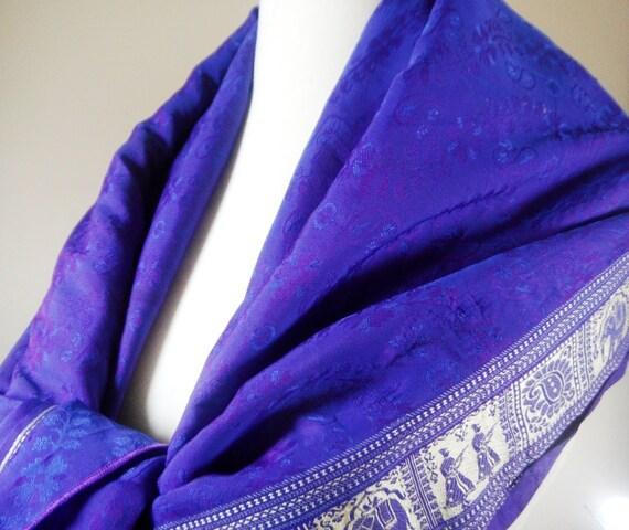 Purple Silk Scarf, Silk Sari Scarf, Elephant Scarf, Indian Scarf