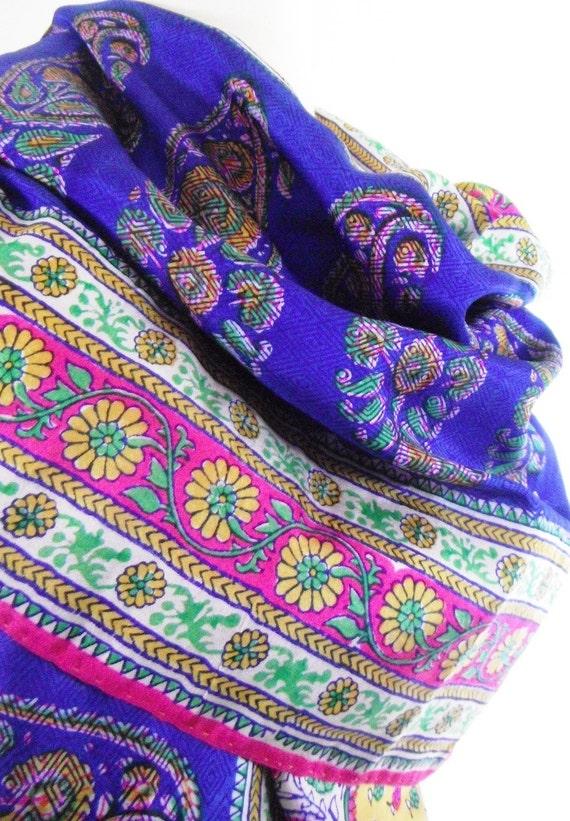 Blue Paisley Scarf Silk Scarf Silk Sari Scarf indian Scarf Floral Scarf Silk Sarong