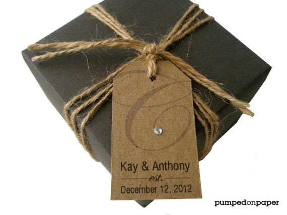 kraft wedding favor tags - monogram with rhinestone  - set of 20