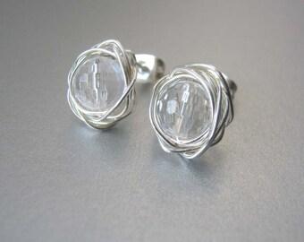 Rock Crystal Stud Earrings - AprilBirthstone -  Crystal Post Earrings -  Birthstone Earrings  -  Bridal Jewellery