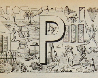 Antique French Dictionary Page - The Letter P - Initial - Alphabet - Original Engraved Lithograph 1937