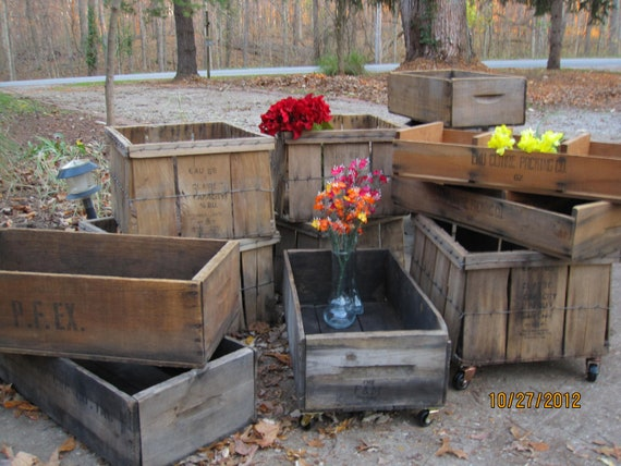 Sale Planter Boxes Vintage Orchard Crates Wedding