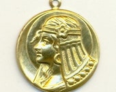 2 Egyptian Cleopatra Charm/Stamping - Raw Brass - 27mm