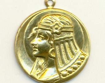 Egyptian Cleopatra Charm/Stamping - Raw Brass - 27mm, X2