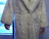 Vintage Avec Tu Faux Fur Coat-Beautiful White Full Length Coat-size 12 Womens