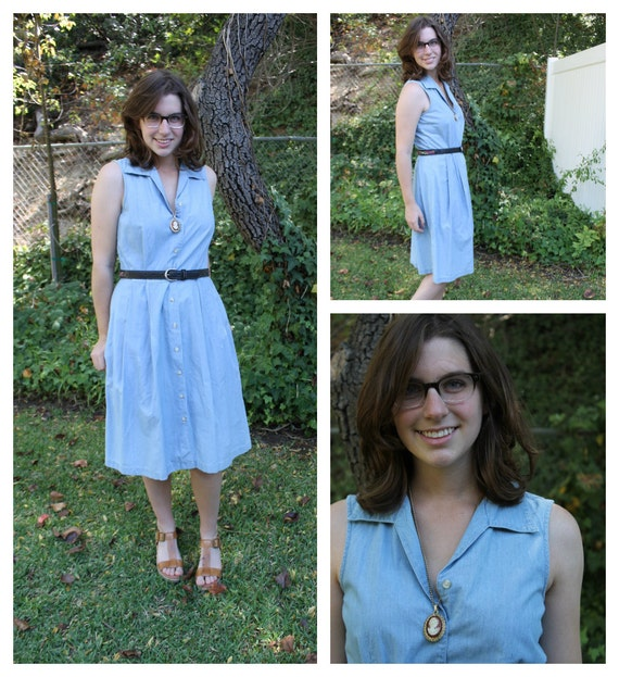 1980s Denim Button Down Dress