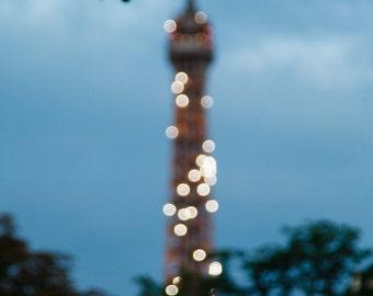 Dreamy Bokeh Dusk Eiffel Tower Abstract Paris France Fine Art Print