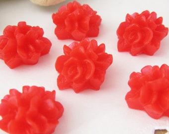 Shop Closing Sale! 6 pcs 15mm Flower Bouquet Cabochon Bright Red FL008-RD