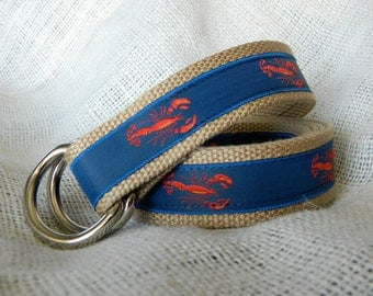 Red Lobster Ribbon on Khaki Webbing D-Ring Belt