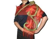 Nuno Felted Flower Scarf Shawl Wrap: Crimson Brick Red Green Mint, Orange, Wool, Lace. OOAK. Splendid, Light. Gift under 50