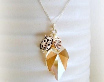 Golden Leaf with Ladybug - Swarovski Crystal Necklace - Golden Shadow Leaf Pendant - Ladybug Charm in Silver