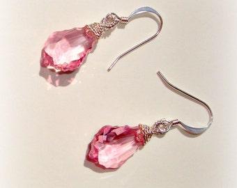 Swarovski Crystal Earrings - Pink Baroque Swarovski - Handmade Earrings in silver - Glass Crystal Earrings