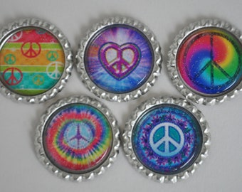 FInished Peace Sign GLITTER bottlecaps--- Set of 5---For hairbows, jewelry, magnets, scrapbooks, picture frame, locker magnets