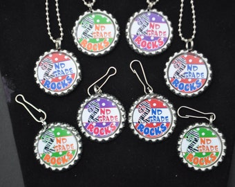 4 third grade bottlecap necklace or zipper pull diy kits