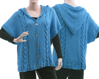 Hand knitted blue hooded sweater, cabled hooded sweater cotton mix, lagenlook blue knitted hoodie medium to plus size women M-L US size 8-14