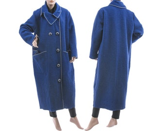 Stylish womens maxi coat, long fall winter spring coat, coat from boiled wool cobalt blue / lagenlook for plus size women L-XL US size 14-18