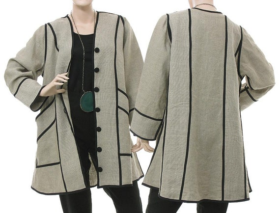 Handmade linen jacket, buttoned top, flared shape / lagenlook for LARGE sized women, US 14-16 / nature, beige, black / SALE discount