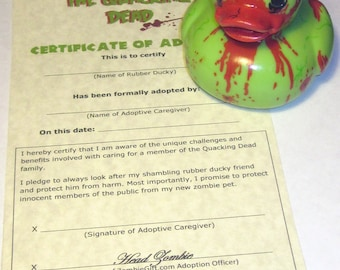 Zombie Rubber Ducky - Hand Painted Zombie Rubber Duck Bathroom Decoration