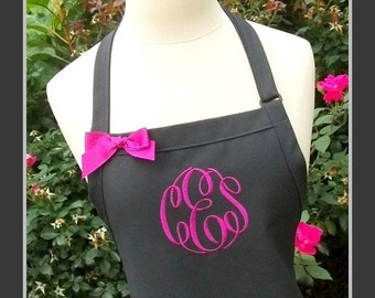 Flannel Grey and Fuschia Monogrammed Apron - Personalized Grey Aprons, Monogram charcoal apron, monogrammed gray apron, fuschia stitching