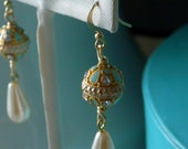 small pale blue enamel, gold and diamante faberge-style earrings
