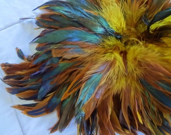 Rooster Schlappen Half Bronze Golden Yellow Feathers wholesale craft design costume supply hair extensions