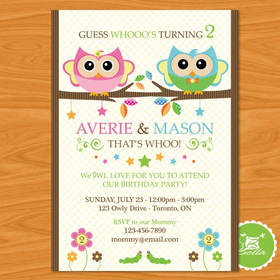 Twins Birthday Party Printable Invitation - Bella's Sweet Owls - Look Who's Having a Birthday - Photo Edition Now Available