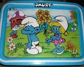 Vintage Smurf Tray, Metal T.V. Tray, Child's Tray - TheBackShak