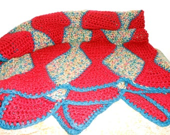Vintage Afghan Blanket, Maroon,  Blue, Throw Blanket,  Lap Blanket, Large Blanket