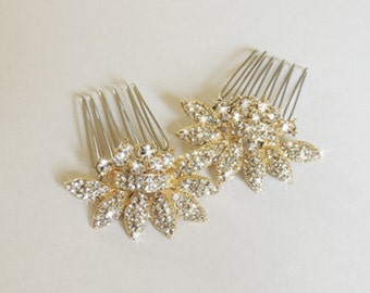 Lydia - Gold Bridal hair comb - Two small vintage style crystal Hair combs Wedding hair accessory - Made to order