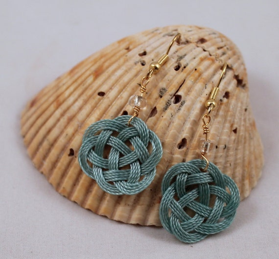 Hypoallergenic Blue Aqua Celtic Sailor Knot Tied Thread Earrings Nickle Free 22K Gold