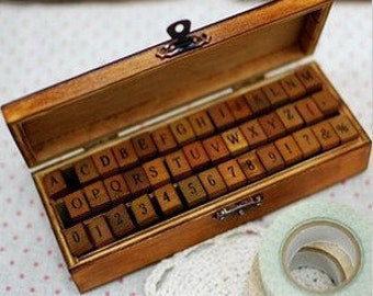 Antique Stamp Set - Wooden Rubber Stamps - Alphabet and Number Stamps - Capital - 42 pcs