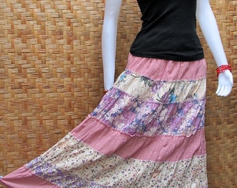 Cotton Patchwork Elastic waist Long Skirt thai cotton