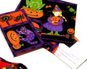 3 Orange, Black, Purple HALLOWEEN FABRIC ENVELOPE Business Card Sleeves, Halloween Costume Witch, Jack O' Lantern, Ghost,Fabric Envelope