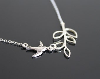 Tiny swallow necklace, bird and brunch necklace, silver twig necklace, simple everyday jewelry.