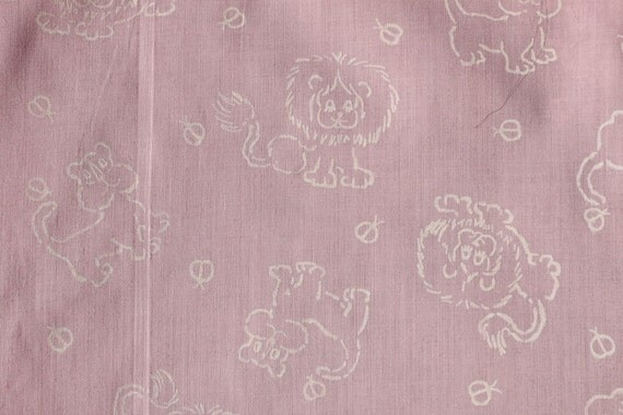 Vintage baby pink lion print cotton fabric 52l by for Retro baby fabric