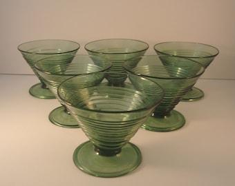 Antique Italian Green Glasses, Champagne, Sherbert, Sorbet, Desert, Fruit bowl