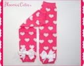 Little MISS SWEETHEART Newborn Infant Toddlers and Girls Pink & White Hearts Cozy Legwarmers With White Bows by Bloomin Cuties