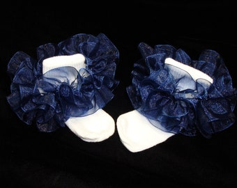 Little Miss Nadia Nautical Navy Blue Organza Newborn Infant Toddlers and Girls SUPER RUFFLE SOCKS by Bloomin Cuties Boutique