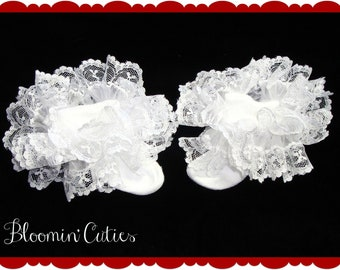 Little Miss Lillie White Organza & White Lace Newborn Infant Toddler and Girls SUPER RUFFLE SOCKS by Bloomin Cuties Boutique