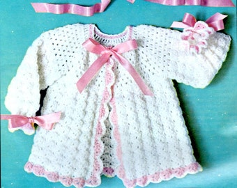 Crochet Pattern Shell Stitch Baby Sweater, Hat, Booties ...