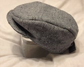Gray Tweed Newsboy Hat/ Flat Cap with adjustable strap: infant-toddler sizes available