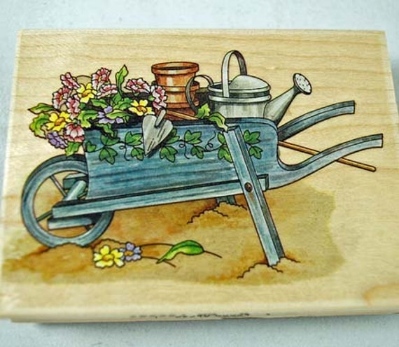 Rubber Stamp - Wheelbarrow - Spring Theme, Garden Theme, Farm Theme  Never Used for Scrapbooking. Cardmaking, Collage