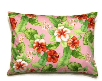 """pink with hibiscus in shades of rust and ivory green leaves decorative throw pillow cover 12"""" x 16""""  for home and travel"""