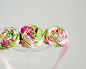 Triple Pink and Green Fabric Flower Rosette with Pink Headband