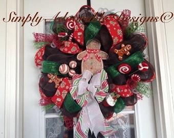 Whimsical Christmas gingerbread wreath design